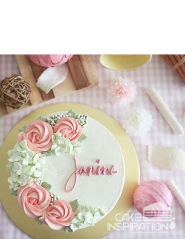 ROSETTE CREAM ART COLLECTION - DESIGN 63 ( white ) elegant Pink rosette wreath designer cake