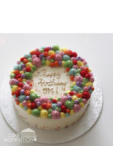 ROSETTE CREAM ART COLLECTION - DESIGN 64 COLORFUL PIPED CREAM DESIGNER CAKE . FRESH AND LOVELY !