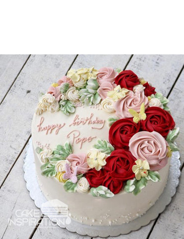ROSETTE CREAM ART COLLECTION - DESIGN 65 ( white ) elegant Pink rosette wreath designer cake
