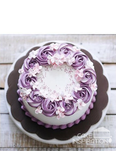 ROSETTE CREAM ART COLLECTION - DESIGN 66 ( white ) elegant Purple rosette wreath designer cake