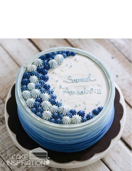 ROSETTE CREAM ART COLLECTION - DESIGN 68 OMBRE RUSTIC LAYER DESIGNER CREAM , MODERN FEEL ON BLUE STARS PIPE ART CAKE