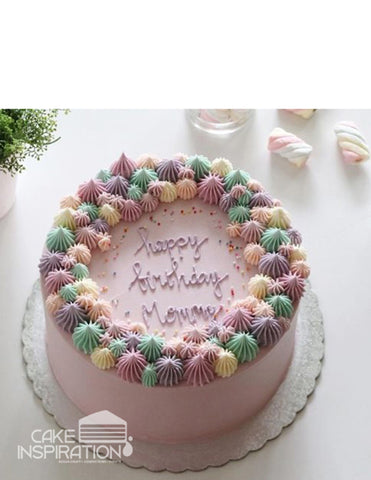 ROSETTE CREAM ART COLLECTION - DESIGN 69 ( COLORFUL PINK AND PASTEL DESIGNER CREAM PIPED CAKE