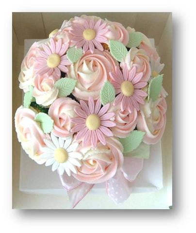 FLOWER BOUQUET CUSTOMIZED CUPCAKE VASE/ DESSERT COLLECTION/ / cake for mum/ Pink series