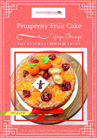 Prosperity Yuzu Cake 8 INCH ROUND YUZU BEST SELLER CAKE ( w Strawberries and Peaches )