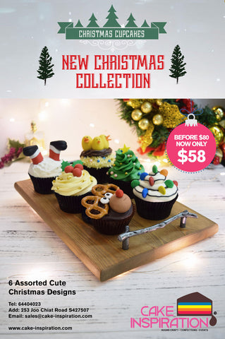 6 assorted handcrafted designer Xmas Theme Cupcake Gift Set ( NEW 2017 )