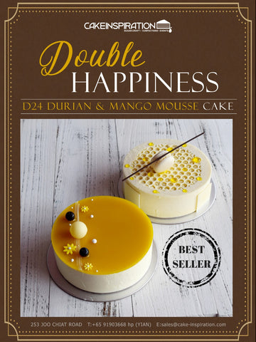 "DOUBLE HAPPINESS - D24 DURIAN AND MANGO MOUSSE CAKES ( Avail 6"" & 8 "" Inch round special )"