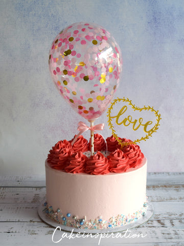 BALLOON DESIGNER CAKE SERIES - DESIGN 02 ( Pastel Red rainbow confetti )