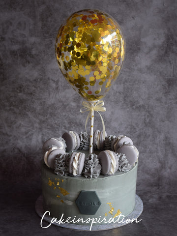 BALLOON DESIGNER CAKE SERIES - DESIGN 01 ( concrete Gray gold confetti )