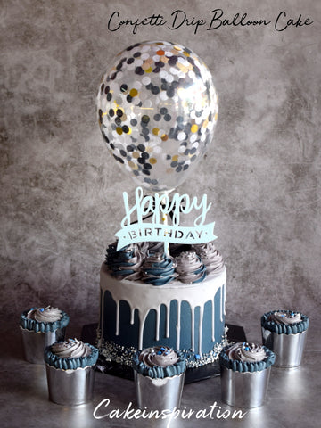 BALLOON DESIGNER CAKE SERIES - DESIGN 03 ( Navy Blue Drip confetti )