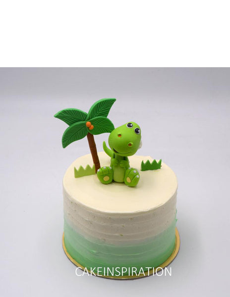 Design G /Cute GREEN DINOSAUR topper cake  - Children Customized D-I-Y cream art cake topper series .