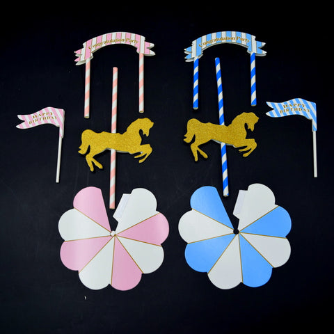 Carousel Horse - Paper Toppers ( Cake / Cupcakes )