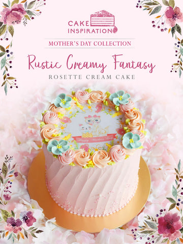 MOM & ME Mother's day 2019 collection - Design C Rustic Cream Fantasy  ( Pink Rosette with Blue Flowers )