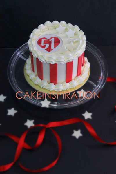 NATIONAL DAY CAKE SINGAPORE / NDP 2017 RED WHITE STRIPE DESIGN CUSTOMIZED VANILLA STRAWBERRY SPONGE CAKE SINGAPORE