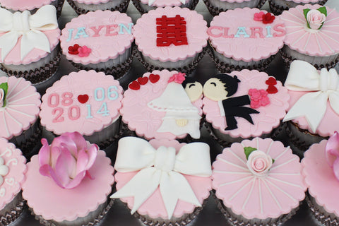 Pink Wedding Cupcakes / wedding customized dessert collection