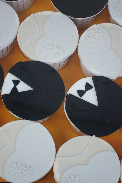 Tuxedo and Bride's Dress Cupcakes / WEDDING CUSTOMIZED DESSERT COLLECTION/ WEDDING CUPCAKES