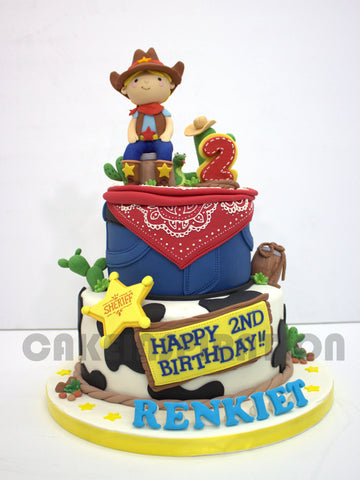 CUSTOMIZED CHILDREN COLLECTION /cowboy sheriff theme 2 tier birthday cake
