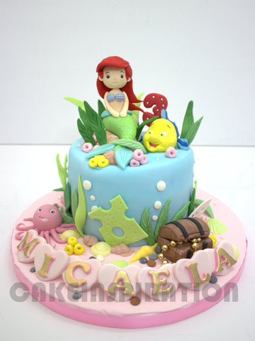 CUSTOMIZED CHILDREN COLLECTION /cute mermaid 3d cake underwater w lobster friend