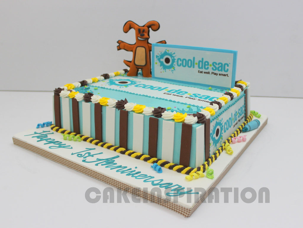 Customized Corporate Collection Rect Cream Cake For Cool De Sac
