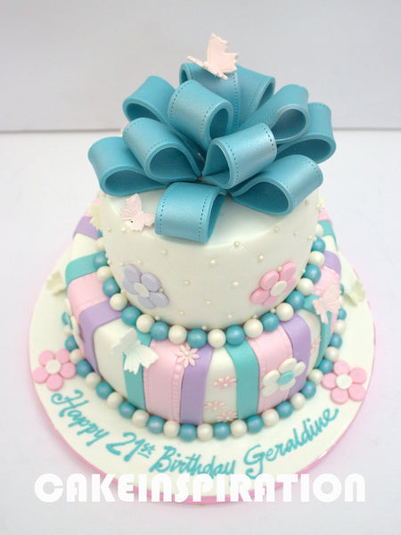 TEENS / WEDDING COLLECTION / A Pink and Blue Colour Theme of 2 tier Birthday Cake