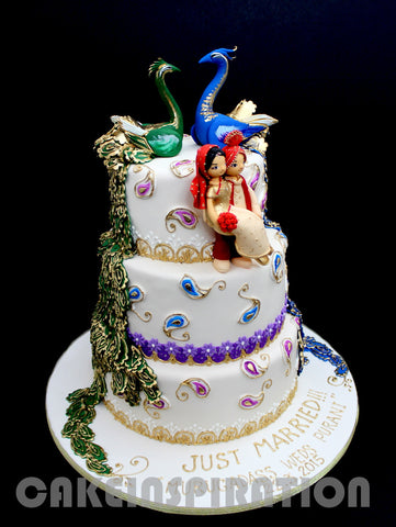 CUSTOMIZED WEDDING COLLECTION / VINTAGE 3 TIERS twin peacock royal indian wedding cake