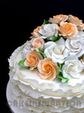 CUSTOMIZED WEDDING COLLECTION / peach color classic ruffles wedding cake ruffles