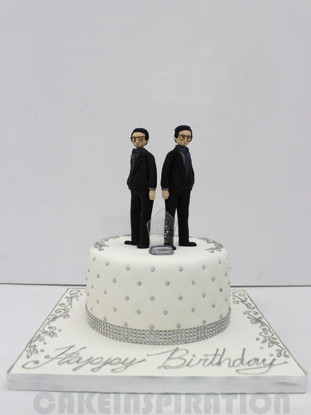 CUSTOMIZED CORPORATE COLLECTION / CAKE FOR 2 BOSSES / ELEGANT WHITE SILVER FOR 2 PARTNERS W AWARD