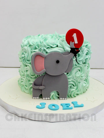 CUSTOMIZED CHILDREN COLLECTION / baby elephant  cream rosette tier cake singapore