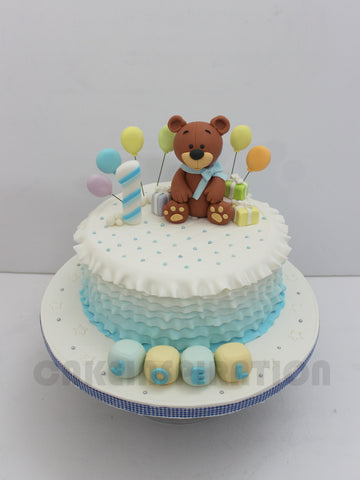 CUSTOMIZED CHILDREN COLLECTION / blue layered ruffles ombre teddy bear theme cake