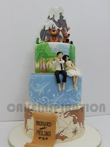 CUSTOMIZED WEDDING COLLECTION / 3D COLLECTION / 3 TIERS DESIGNED WEDDING CAKE customized COUPLE