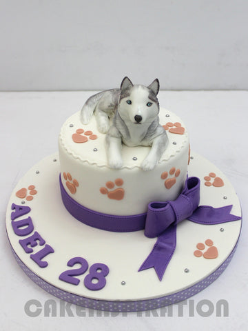 CUSTOMIZED CHILDREN  COLLECTION /PET  grey siberian husky 3d cake / 3d /