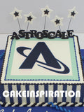 CUSTOMIZED CORPORATE COLLECTION / BLUE WHITE 1 TIER BUTTERCREAM RECT CAKE