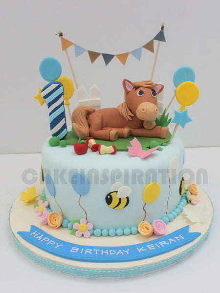 CUSTOMIZED CHILDREN COLLECTION / pastel blue barnyard horse pony theme cake /bunting