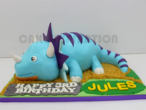 CUSTOMIZED CHILDREN COLLECTION / 3d cake collection / blue triceratops dinosaur carved cake