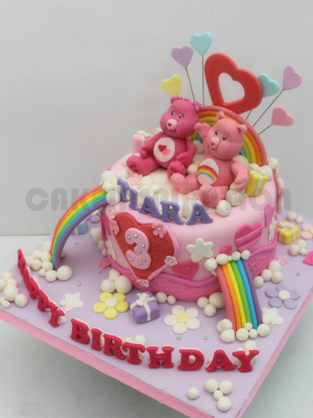 CUSTOMIZED CHILDREN COLLECTION / pink teddy bears cake singapore / pastel pink/ rainbow