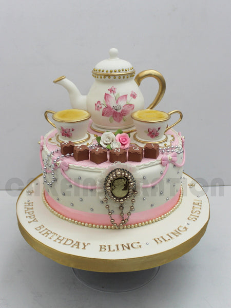 CUSTOMIZED WEDDING COLLECTION / 3d / tea cup and tea pot wedding cake w classic hand painting