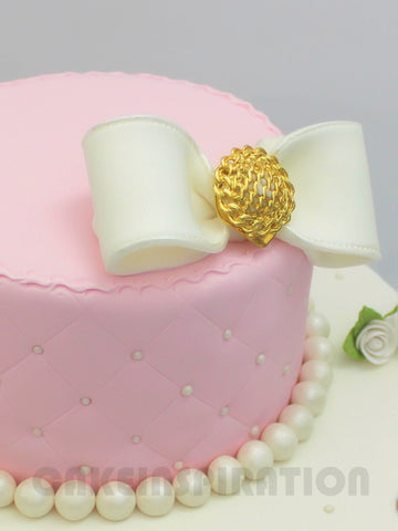 CUSTOMIZED WEDDING COLLECTION /royal pastel pink wedding cake bow / pearl quitted design