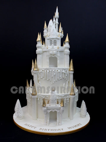 CUSTOMIZED WEDDING COLLECTION / white 3 tier castle grand white cake with LED / RENTAL collection