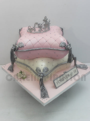 CUSTOMIZED 3d cake COLLECTION / classic pillow style 3d pillow cake 2 tiers w princess tiara