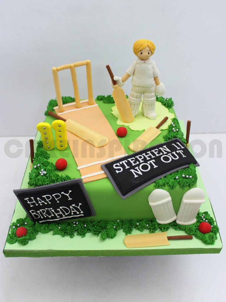 CUSTOMIZED CHILDREN COLLECTION Cricket Game Theme Boys Birthday Cake