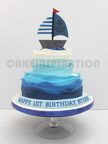 CUSTOMIZED CHILDREN COLLECTION /sail boat theme  / blue ombre ruffles children cake singapore