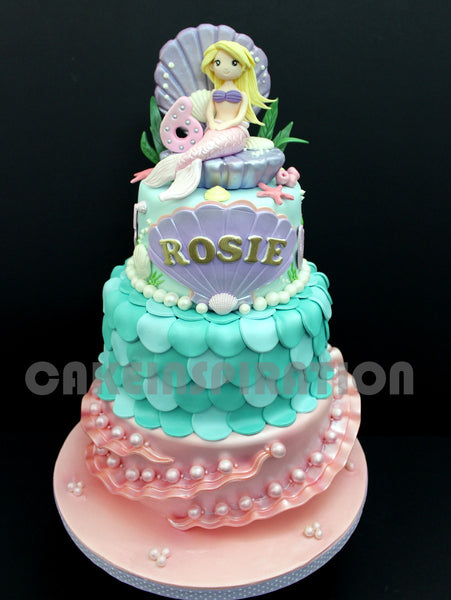 CUSTOMIZED CHILDREN COLLECTION /underwater princess pearly cake Princess mermaid/ TEEN