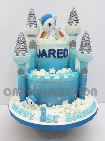 CUSTOMIZED CHILDREN COLLECTION Blue Castle Pony Theme Boys Baby Cake Singapore