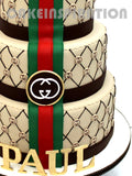 CUSTOMIZED corporate COLLECTION / 3 TIER ELEGANT DESIGNER BRAND CAKE FOR VIP / CORPORATE PARTY CAKES