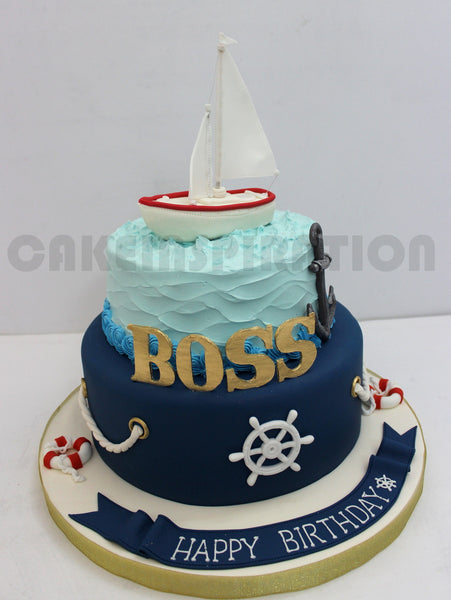 CUSTOMIZED CHILDREN COLLECTION /corporate / sail boat theme cake / blue ombre ruffles SAILING THEME