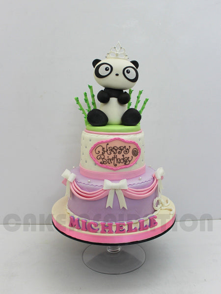 CUSTOMIZED CHILDREN COLLECTION / teen collection / 2 tier panda princess cake / 21st birthday