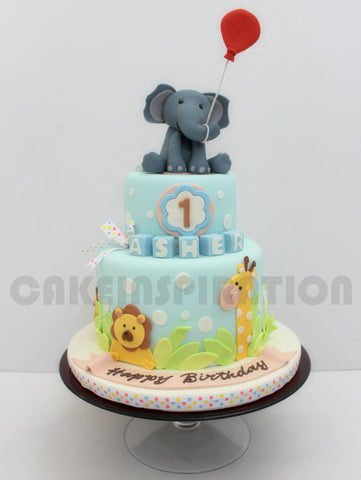 CUSTOMIZED CHILDREN COLLECTION / baby elepHANT cute animals theme 2 tier cake singapore