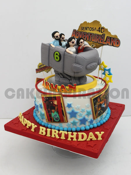 CUSTOMIZED CHILDREN COLLECTION / TEEN/ 3d cake  / roller coaster theme adventure ride