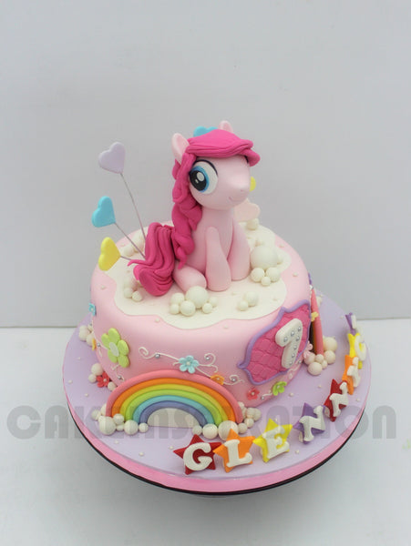 CUSTOMIZED CHILDREN COLLECTION /pastel blue pony theme girls cake