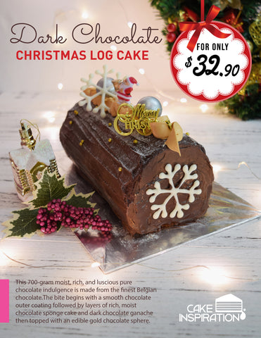Christmas Dark Chocolate Log Cake ( Dark) 700gm