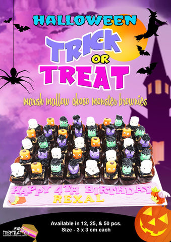 Halloween Theme 12pc / 25 pc /50pc Party Pack Marsh Mellow Choc  GOURMET Brownies Gift set